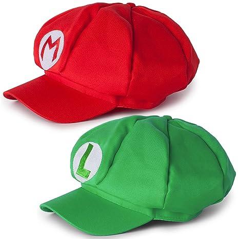 8219dc5fce Katara 1658 Super Mario Set Cappello da Mario e Luigi Berretto Cappellino  Rosso e Verde Adulti