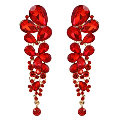 EVER FAITH Women's Jewelry Accessory Red Crystal Elegant Teardrop Wedding Dangle Clip-on Earrings Gold-Tone