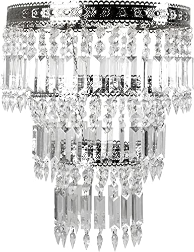 Tadpoles Faux-Crystal Chrome Queen s Crown Shade, Large, Chandelier Style