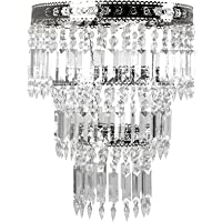 Tadpoles Faux-Crystal & Chrome Queen's Crown Pendant Light Shade, Large, Chandelier Style