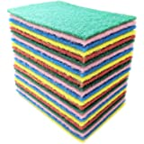 Bundaloo 24 Pack Scouring Pads Scrubbers Set in Red, Yellow, Pink, Green and Blue - Multipurpose, Non Abrasive, Non Scratch -