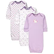 Maybe Baby Kids Infant Boys' and Girls' 3 Pack Set Cotton Baby Gowns w/Mitten Cuffs & Easy Change Expandable Shoulders, 0-6 Months, Unicorn