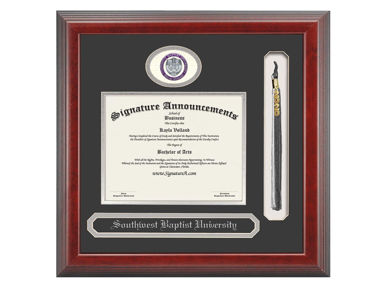 Cherry Name /& Tassel Graduation Diploma Frame 16 x 16 Signature Announcements Southwest Baptist University Undergraduate Sculpted Foil Seal