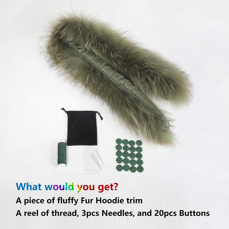Fur Story Women Men Hoodie Trim Coat Fur Collar Racoon Fur Stripe for Down Jacket