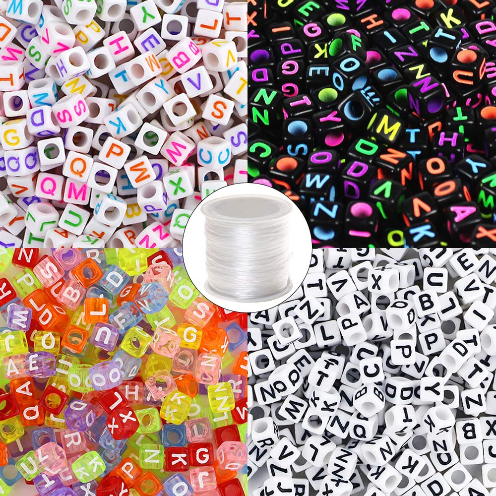 Quefe 1000pcs 4 Color Acrylic Alphabet Letter Beads with 1 Roll Elastic Crystal String Cord for Jewelry Making Kids DIY Necklace Bracelet(6mm) (1000pcs) Joyereryday 4336807060
