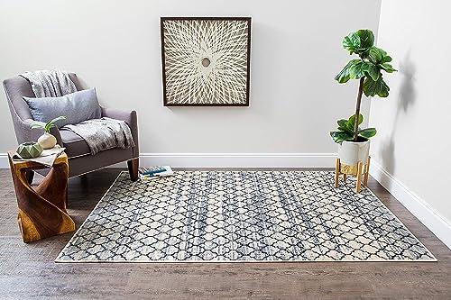 Mizuri Lattice Abrash Area Rug, 9 x 12 , Black White