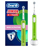 Oral-B Junior Electric Toothbrush Rechargeable for Children Aged 6+, Green, UK 2-Pin Plug