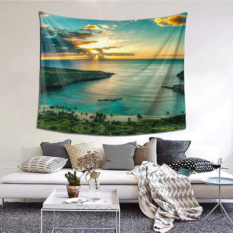 Sunrise Over Hanauma Bay Oahu Hawaii Tapiz con estampado de pared para colgar en la pared para dormitorio, dormitorio, versión horizontal para el hogar universitario (60 x 51 pulga
