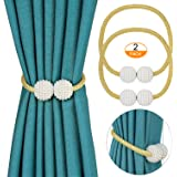 PINOWU [2 Pack] Magnetic Curtain Tiebacks for Window Décor Weave Rope Clips Drapery Pearl Holdbacks for Home Kitchen Office Window Sheer Blackout (Gold)
