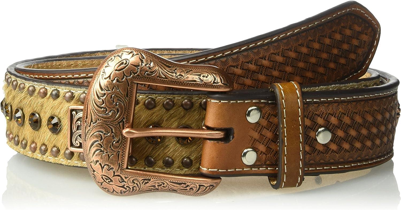 Nocona Western Mens Belt Leather Rhinestone Calf Hair Copper Concho Tan N2412508