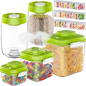 5-piece Food Storage Containers, Vacuum Food Containers with Airtight Lids for Kitchen Organization and Storage-Send 30 PCS Sealer Bags