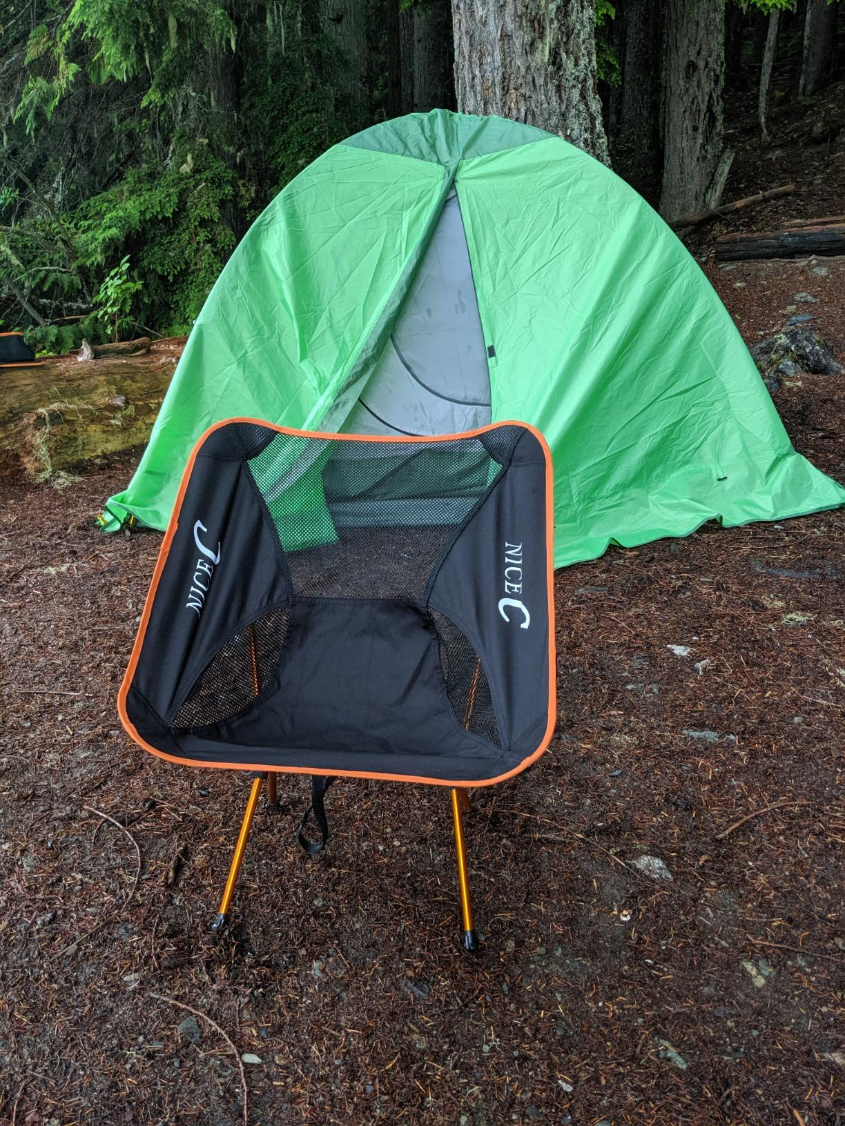Nice C Ultralight Portable Folding Camping Backpacking Chair Compact & Heavy Duty Outdoor, Camping, BBQ, Beach, Travel, Picnic, Festival with 2 Storage Bags&Carry Bag photo review