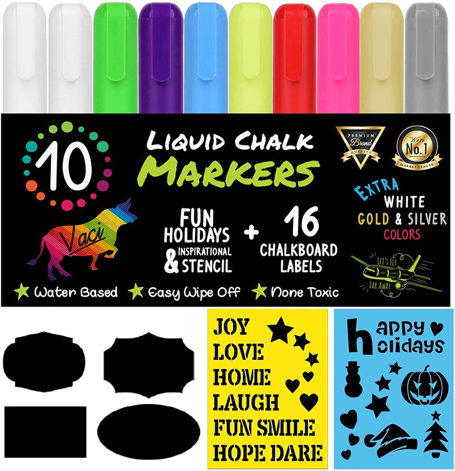 Chalk Markers by Vaci, Pack of 10 + Drawing Stencils + 16 Labels, Premium Liquid Chalkboard Neon Pens, Including Gold, Silver and Extra White Ink, Bullet or Chisel Reversible Tips : Office Products