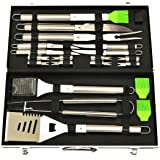 G & F 20-Piece Stainless-Steel BBQ Tool Kit, Strong, Sturdy, Heavy Duty Grilling Tool Kit in Portable Aluminium Carrying Case, Dishwasher Safe
