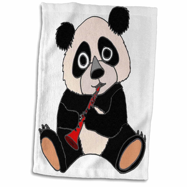 3D Rose TWL 243540 1 Funny Cute Panda Bear Playing The Clarinet Towel 15 x 22