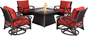 Kinger Home Propane Fire Pit Table Set, 5 Pieces Fire Pit Set, 42 Inch 50,000 BTU Firepit Table, Rattan Wicker Swivel Chairs with Red Outdoor Cushions, Patio Furniture with LP Fire Pit