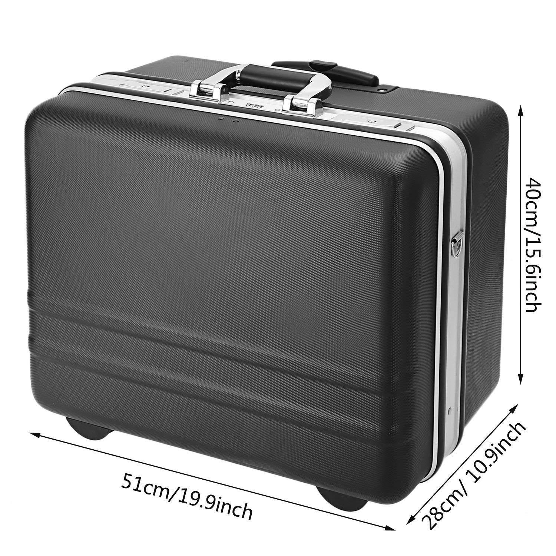 Meditool Caja de herramientas con ruedas,51 x 40 x 28cm,Bloqueo de contrase/ña,compartimiento ajustable,Maleta para herramientas con una correa de transporte ajustable