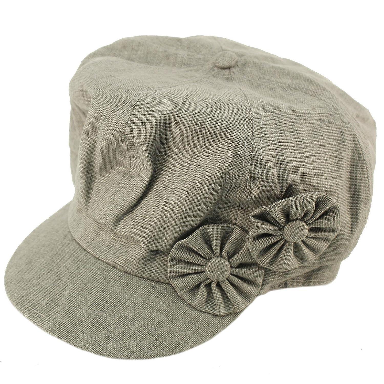 Summer Floral Linen Cotton 8 Panel newsboy Gatsby Round Cabbie Cap Hat Gray  at Amazon Women s Clothing store  5d25c17d74e6