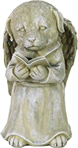 """Exhart Dog Angel Reading Book Statue –Dog Memorial Marker Statue Holding a Book in Hand –UV-Treated & Weather-Resistant Resin Dog Sculpture for Garden Décor, 6""""x6""""x10"""""""