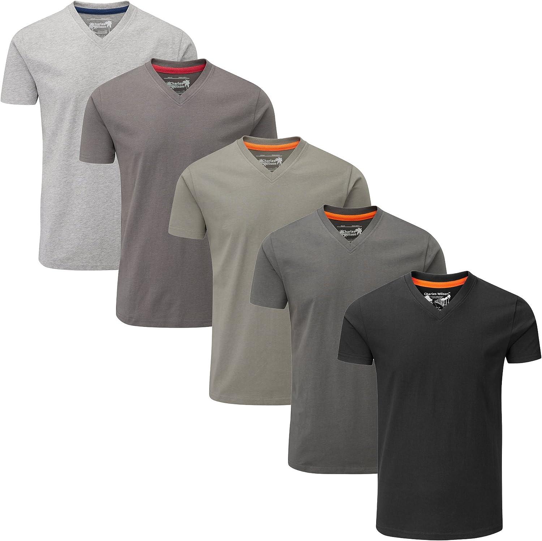 Charles Wilson Paquete 5 Camisetas Cuello Pico Lisas