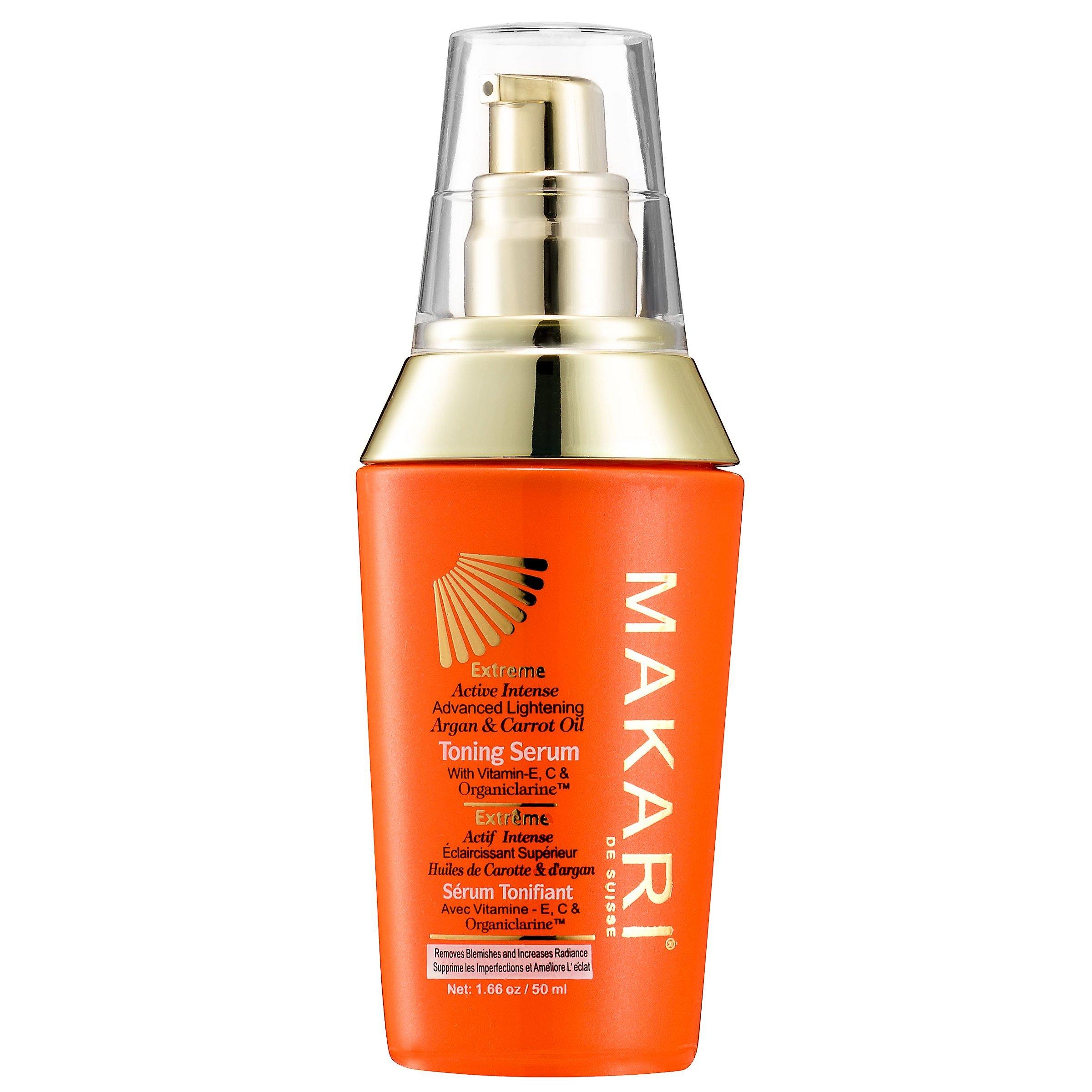 Makari Extreme Carrot & Argan Oil Skin Toning Serum 1.7oz – Lightening, Brightening & Tightening Body Serum with Organiclarine – Whitening & Anti-Aging Treatment for Dark Spots, Acne Scars