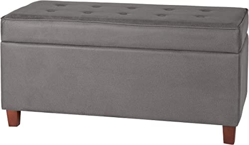 HomePop Button Tufted Rectangle Ottoman Storage Bench