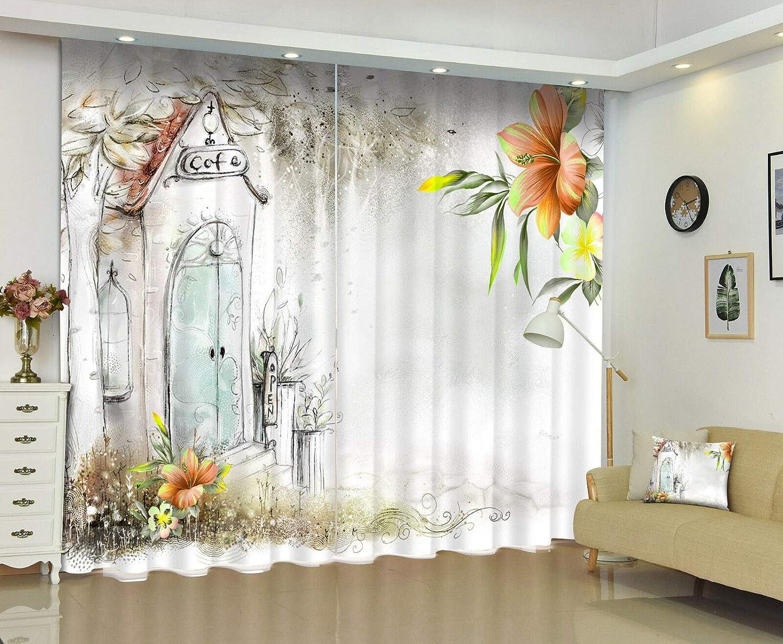 FidgetGear 3Dフォトプリントカフェ&フラワーウィンドウカーテン壁画封鎖カーテン 118X106 ''(300X270CM) 118X106 ''(300X270CM)  B07Q457Z99