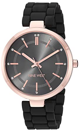 e95023326 Nine West Women's NW/2302RGBK Crystal Accented Rose Gold-Tone and Black  Rubberized Bracelet