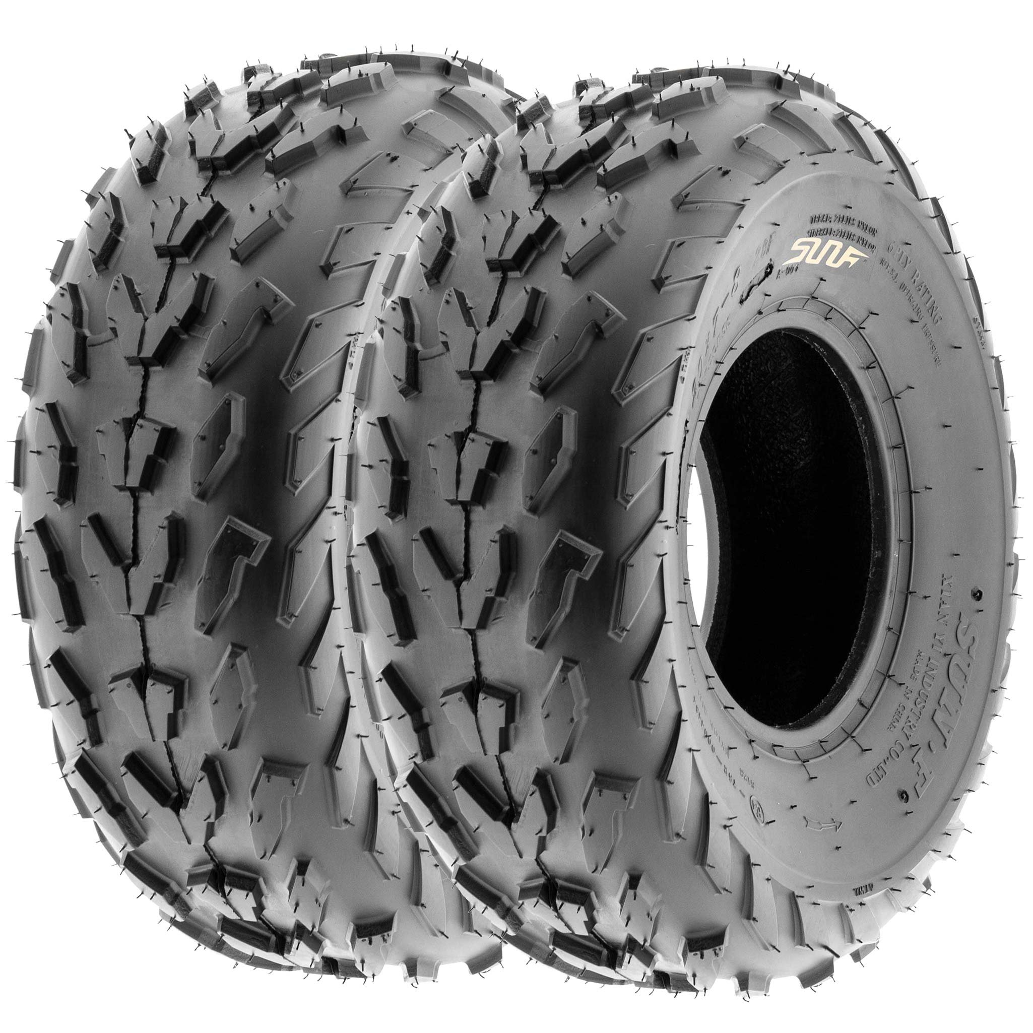 SunF 20x7-8 20x7x8 ATV UTV A/T Quad Race Replacement 6 PR Tubeless Tires A007, [Set of 2]