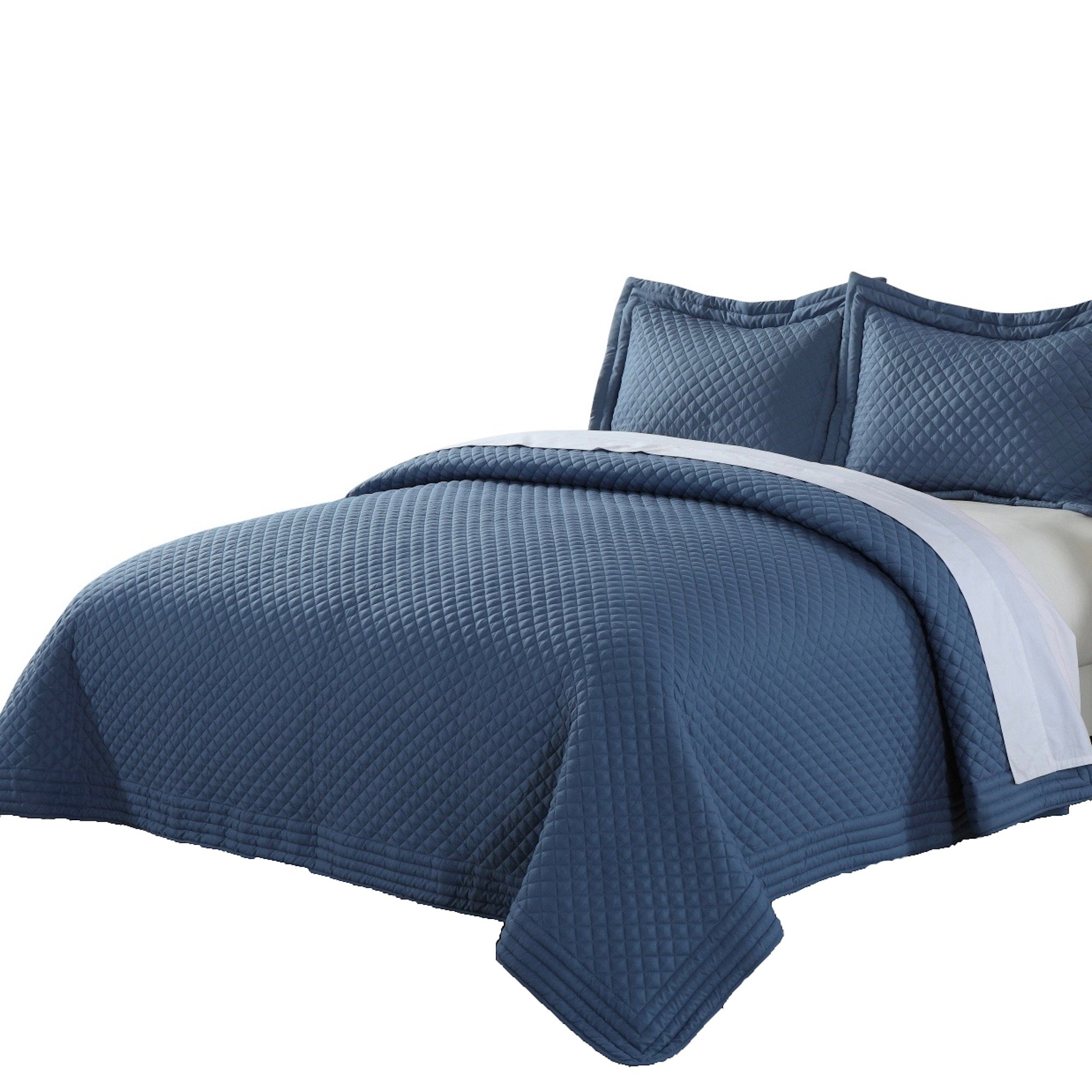 Lotus Home Microfiber Stain and Water Resistant Diamond Quilt, Full/Queen, Smoke Blue