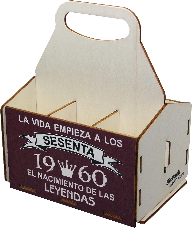 Portacervezas de madera, paquete de seis cervezas, caja portadora de seis, portacervezas de seis, regalo cerveza, cumpleaños 60 años, regalo 60 años, de madera, 60 cumpleaños, cumpleaños hombre, 1960