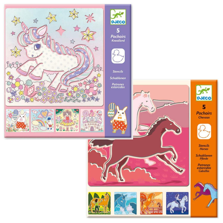 Djeco - Set creativo di stencil per dipingere e disegnare a forma di unicorno, ideale come regalo per bambine e bambini