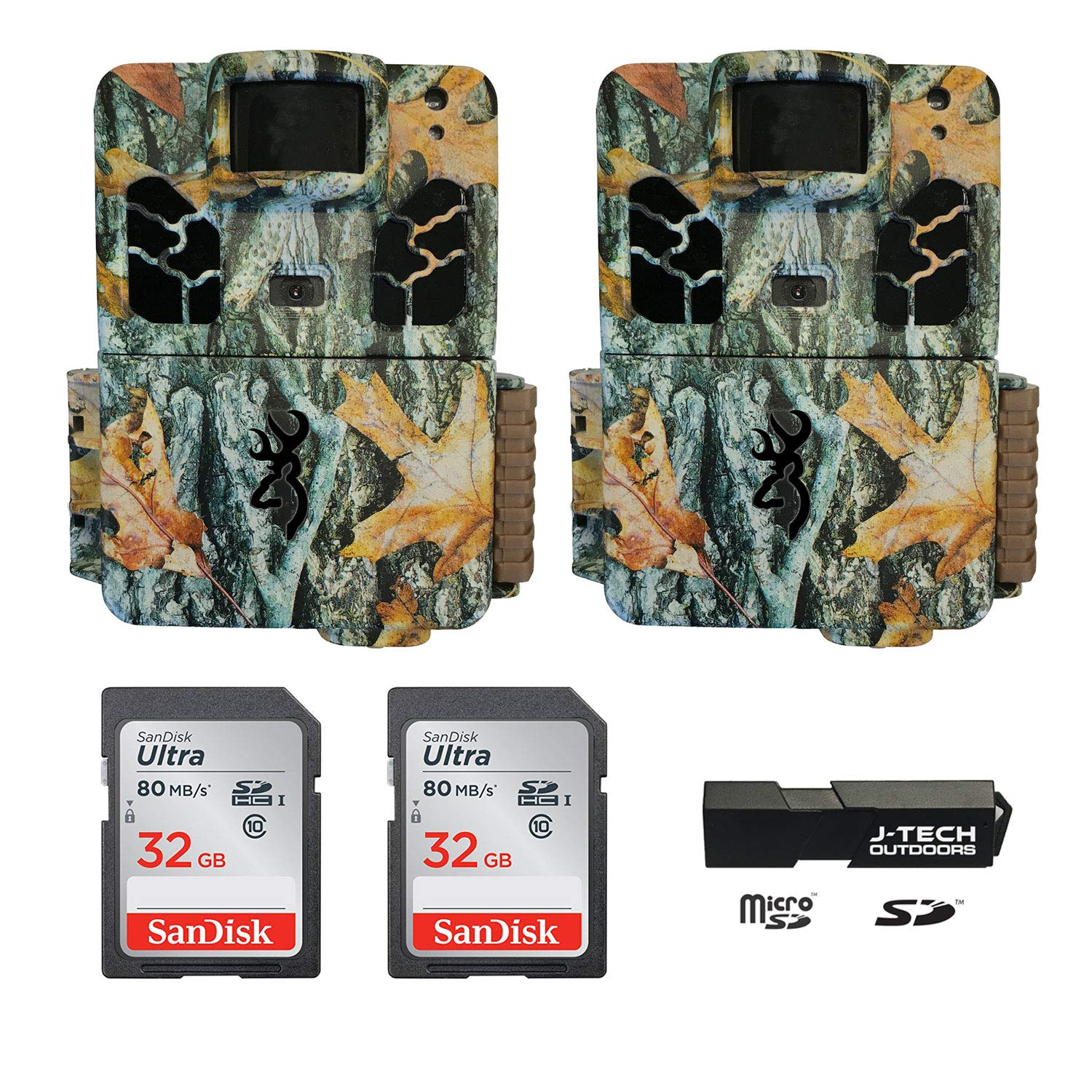 (2) Browning Dark OPS HD APEX (2019) Trail Game Cameras Bundle Includes 32GB Memory Cards and J-TECH Card Reader (18MP) | BTC6HDAPX by Browning Trail Cameras
