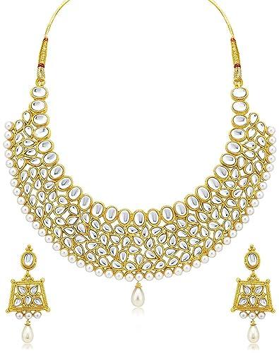 Buy meenaz one gram gold plated pearl kundan pendant earrings meenaz one gram gold plated pearl kundan pendant earrings necklace set for women girls aloadofball Gallery
