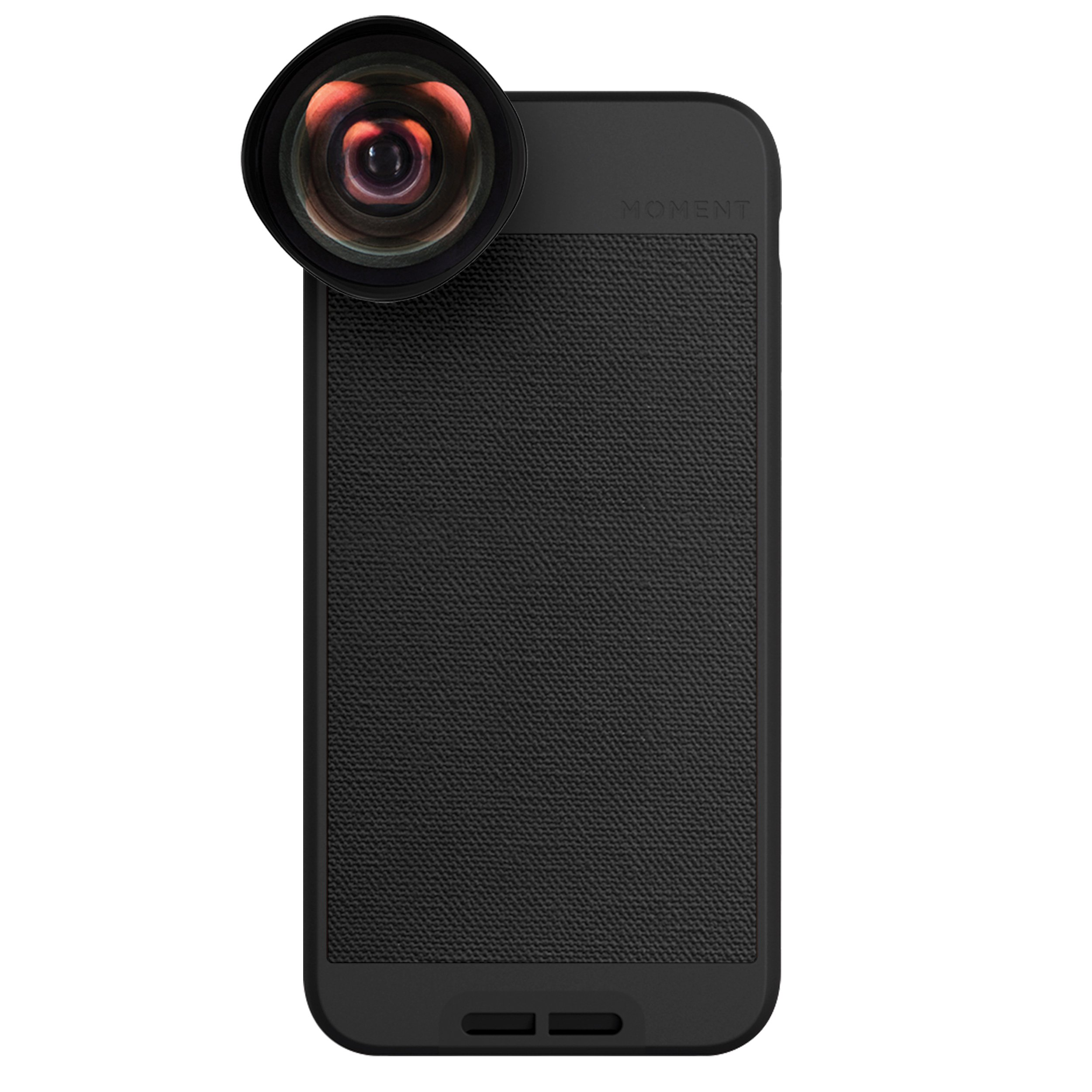 iPhone 6 Case with Wide Lens Kit    Moment Black Canvas Photo Case plus Wide Lens    Best iphone wide attachment lens with thin protective case.