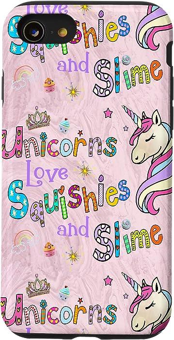 iPhone SE (2020) / 7 / 8 Unicorns Love SQUISHIES & SLIME Wish Fun Teens Girls - Pink Case