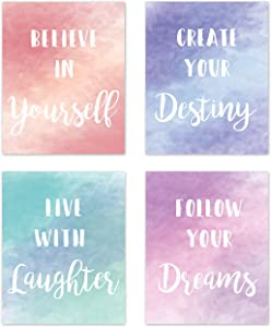 KB & Me Inspirational Wall Art Posters Quotes Sayings Home Décor Colorful Motivational Prints for Teen Dorm College Girls Kids Children Nursery Classroom - Set of 4-8 x 10 inches
