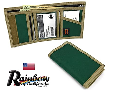 d647d4d969 Men's Trifold Wallet Inside ID Hunter Green Made in USA by Rainbow of  California