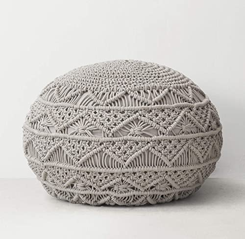 Hand Woven Home D cor Braided Jute Pouf | Ottoman | Footrest