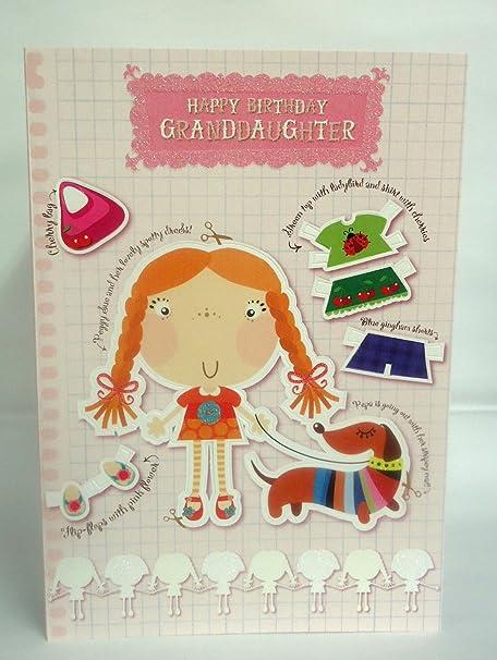 Happy Birthday Granddaughter 8 Page Insert Lovely Bright Modern Cut