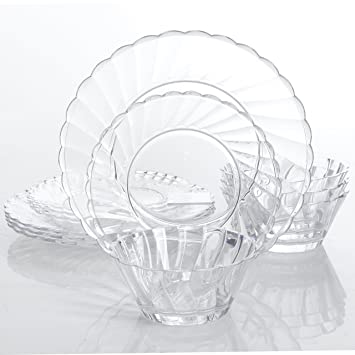 Gibson Home Estelle 12-Piece Dinnerware Set Round Clear Acrylic Service  sc 1 st  Amazon.com & Amazon.com | Gibson Home Estelle 12-Piece Dinnerware Set Round ...