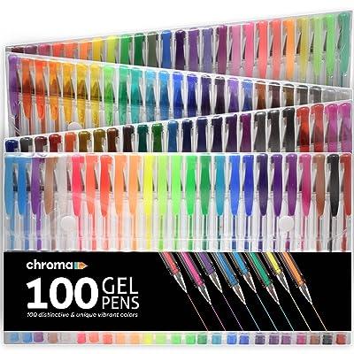 100 stylos à encre gel de couleur Chroma avec étui - Gel Pens extra large - Couleurs UNIQUES (aucune en double) – Encre de qualité supérieure glissant facilement - Parfaits pour le coloriage