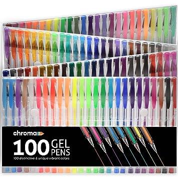 Chroma 100 Bolígrafos de Gel - Set Extra Grande - 100 Colores únicos (Ninguno repetido