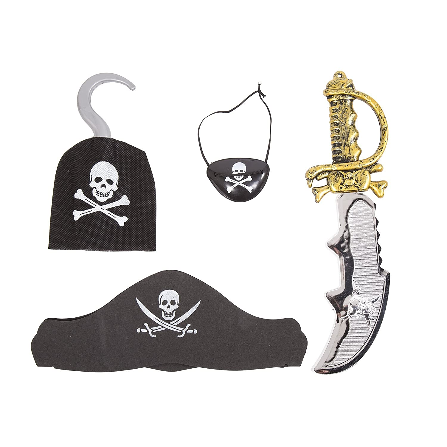 PIRATE TELESCOPE EYE PATCH COINS EARRING SET FANCY DRESS COSTUME ACCESSORIES KIT