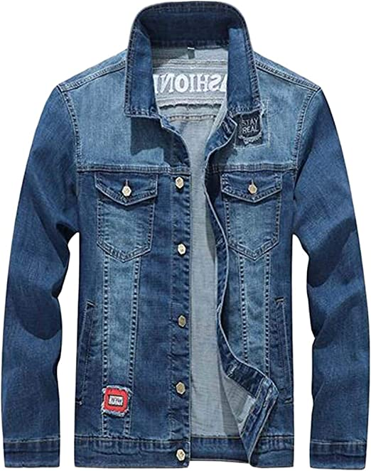 Men's Embroidery Casual Long Sleeve Button Down Loose Fit Denim Trucker Jacket Coat