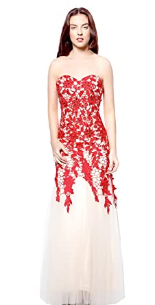 atopdress LL7 lace fishtail prom sequined gown evening dress party wear (16, Red)