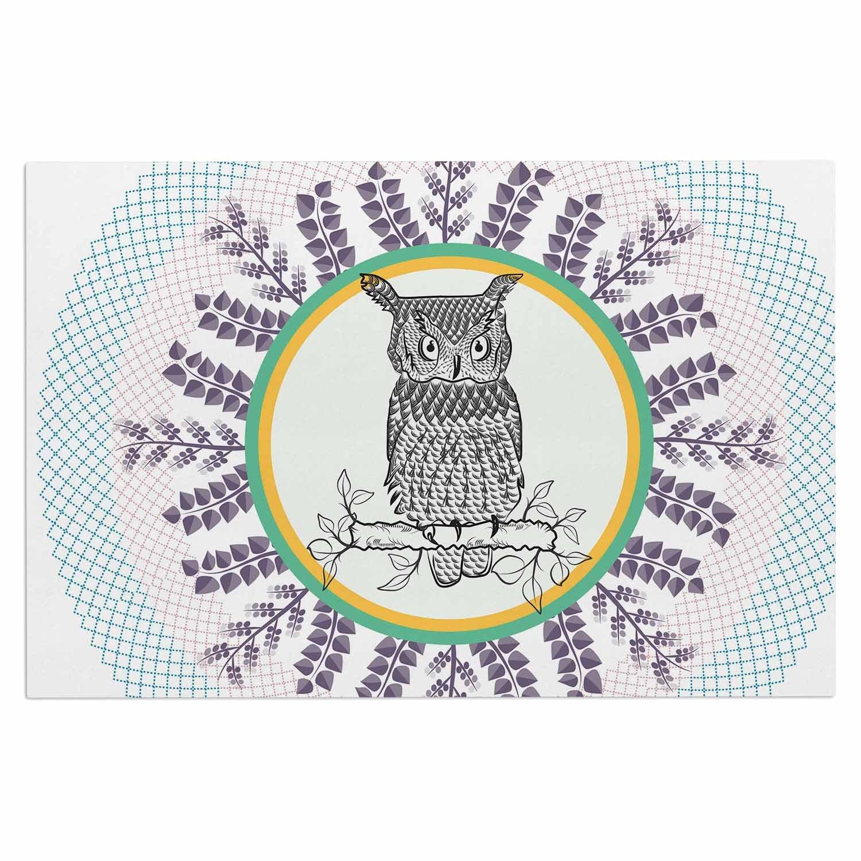 2 x 3 Floor Mat Kess InHouse Famenxt Owl White Purple Decorative Door