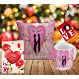 Happy Valentine's Day cute couple design Styles printed Gift Combo offer by Style Corme | Gift combo is one printed cushion, Valentine's Card, Printed mug and Key Ring. | valentine day gift for girlfriend | valentine day gift for boyfriend.