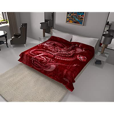 SOLARON Korean Super Thick Heavy Weight Ultra Silky Soft Mink Heavy Duty Reversible Blanket Bed comforters bedspreads Bedding Comforter King or Queen(Queen, Dragon Burgundy): Home & Kitchen