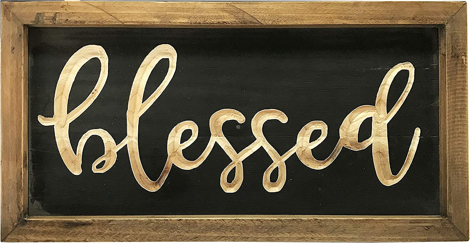 NIKKY HOME Rustic Inspirational Wooden Wall Plaque Sign, 12 x 6 inch, Blessed